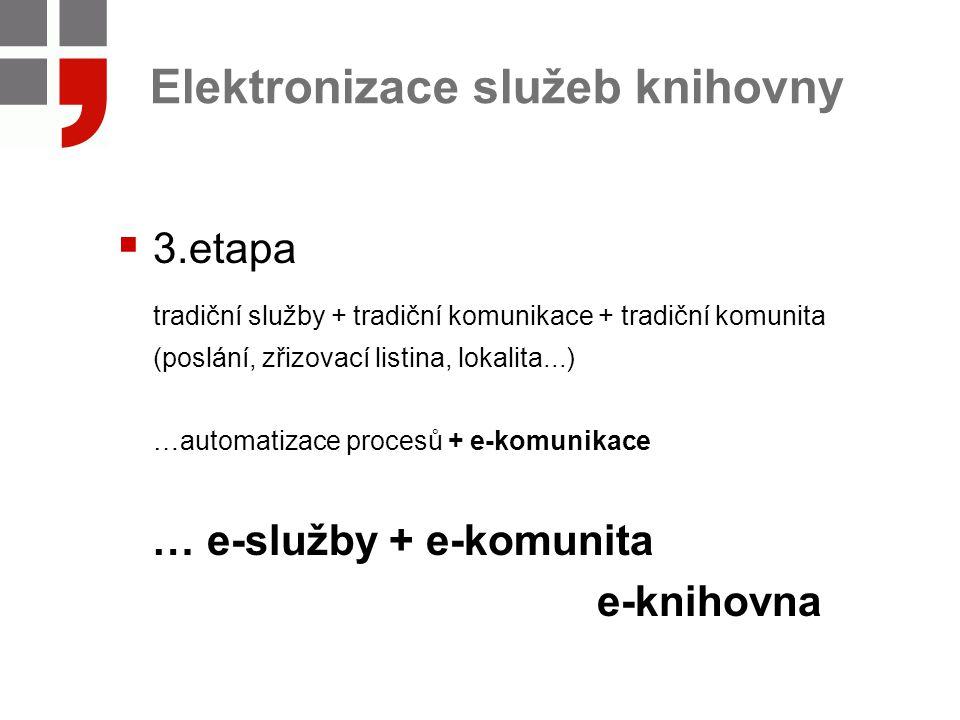 Elektronizace služeb knihovny  3.etapa tradiční služby + tradiční komunikace + tradiční komunita (poslání, zřizovací listina, lokalita...) …automatizace procesů + e-komunikace … e-služby + e-komunita e-knihovna