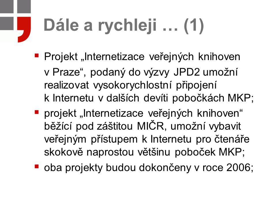 """Dále a rychleji … (1)  Projekt """"Internetizace veřejných knihoven v Praze , podaný do výzvy JPD2 umožní realizovat vysokorychlostní připojení k Internetu v dalších devíti pobočkách MKP;  projekt """"Internetizace veřejných knihoven běžící pod záštitou MIČR, umožní vybavit veřejným přístupem k Internetu pro čtenáře skokově naprostou většinu poboček MKP;  oba projekty budou dokončeny v roce 2006;"""