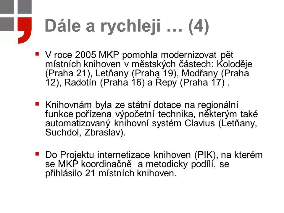 Dále a rychleji … (4)  V roce 2005 MKP pomohla modernizovat pět místních knihoven v městských částech: Koloděje (Praha 21), Letňany (Praha 19), Modřany (Praha 12), Radotín (Praha 16) a Řepy (Praha 17).