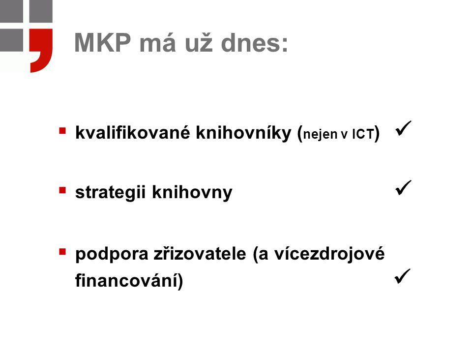 MKP má už dnes:  kvalifikované knihovníky ( nejen v ICT )  strategii knihovny  podpora zřizovatele (a vícezdrojové financování)