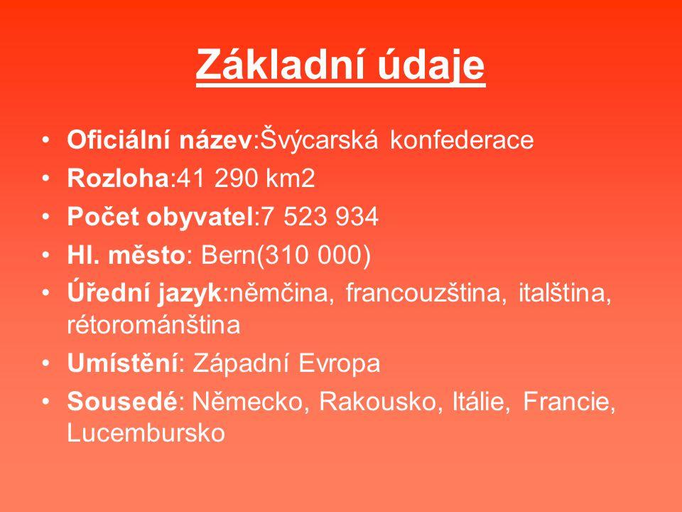 Základní údaje Oficiální název:Švýcarská konfederace Rozloha:41 290 km2 Počet obyvatel:7 523 934 Hl. město: Bern(310 000) Úřední jazyk:němčina, franco
