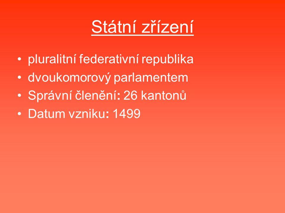 Státní zřízení pluralitní federativní republika dvoukomorový parlamentem Správní členění: 26 kantonů Datum vzniku: 1499