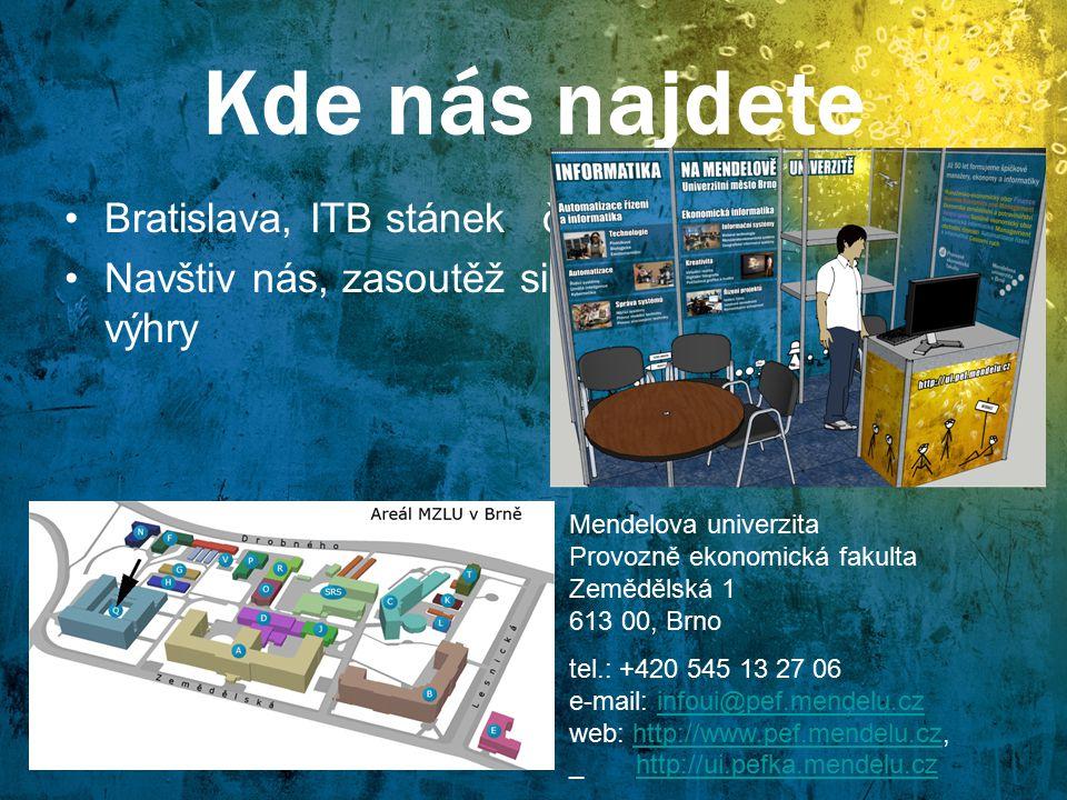 Kde nás najdete Bratislava, ITB stánek č. 54 Navštiv nás, zasoutěž si, odnes si zajímavé výhry Mendelova univerzita Provozně ekonomická fakulta Zemědě