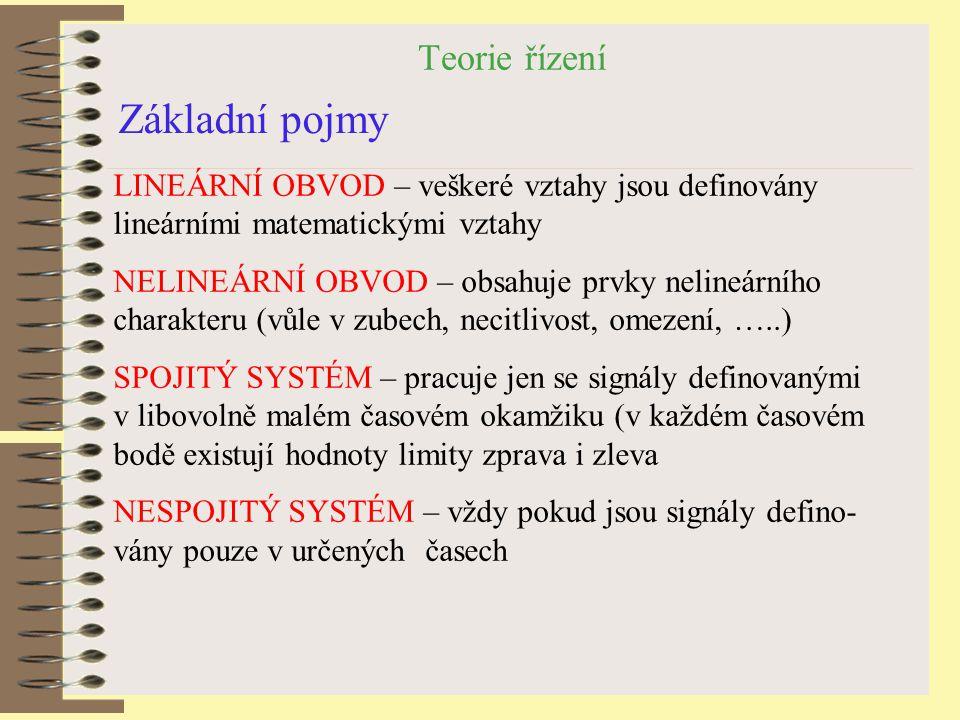 Teorie řízení Základní pojmy LINEÁRNÍ OBVOD – veškeré vztahy jsou definovány lineárními matematickými vztahy NELINEÁRNÍ OBVOD – obsahuje prvky nelineá