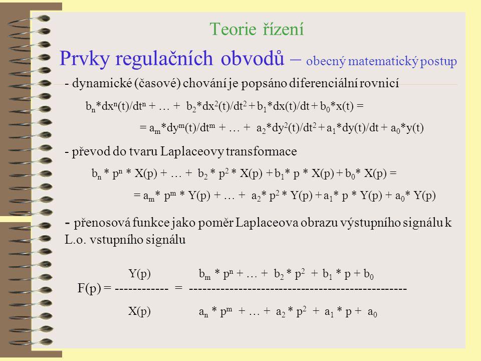 Teorie řízení Prvky regulačních obvodů – obecný matematický postup - dynamické (časové) chování je popsáno diferenciální rovnicí b n *dx n (t)/dt n +