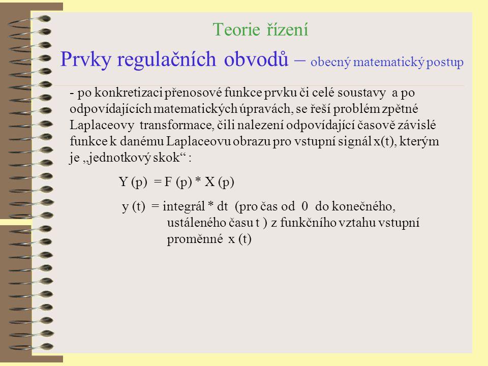 Teorie řízení Prvky regulačních obvodů – obecný matematický postup - po konkretizaci přenosové funkce prvku či celé soustavy a po odpovídajících matem