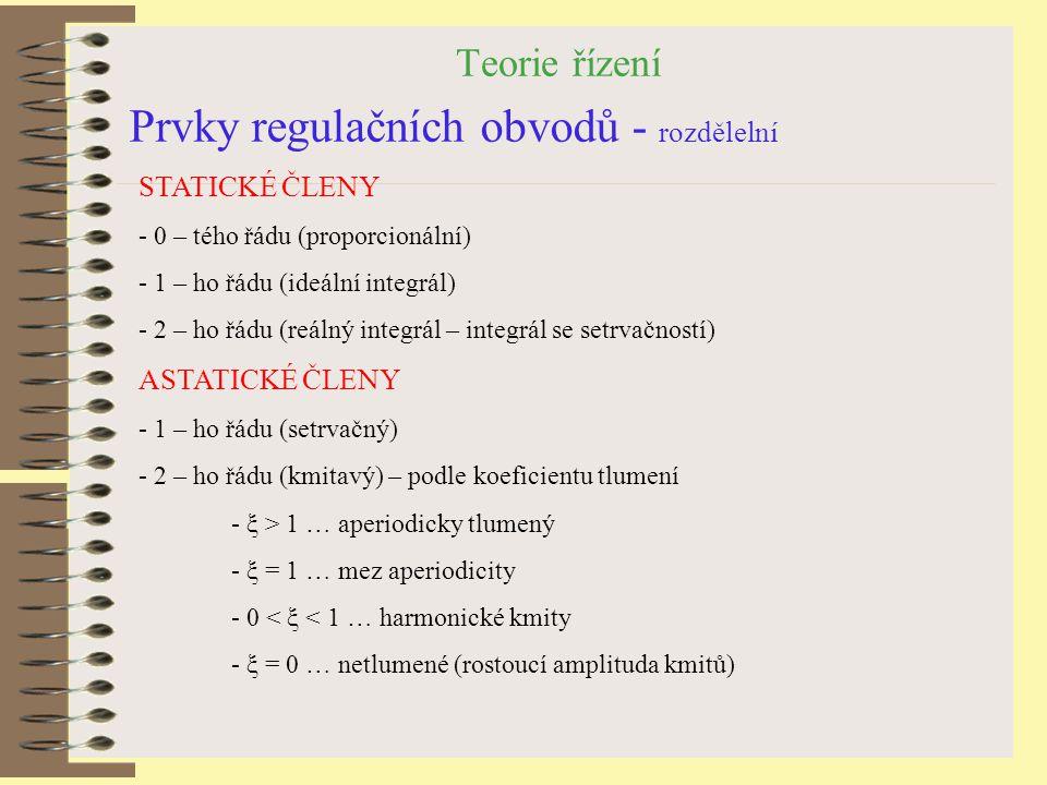Teorie řízení Prvky regulačních obvodů - rozdělelní STATICKÉ ČLENY - 0 – tého řádu (proporcionální) - 1 – ho řádu (ideální integrál) - 2 – ho řádu (re