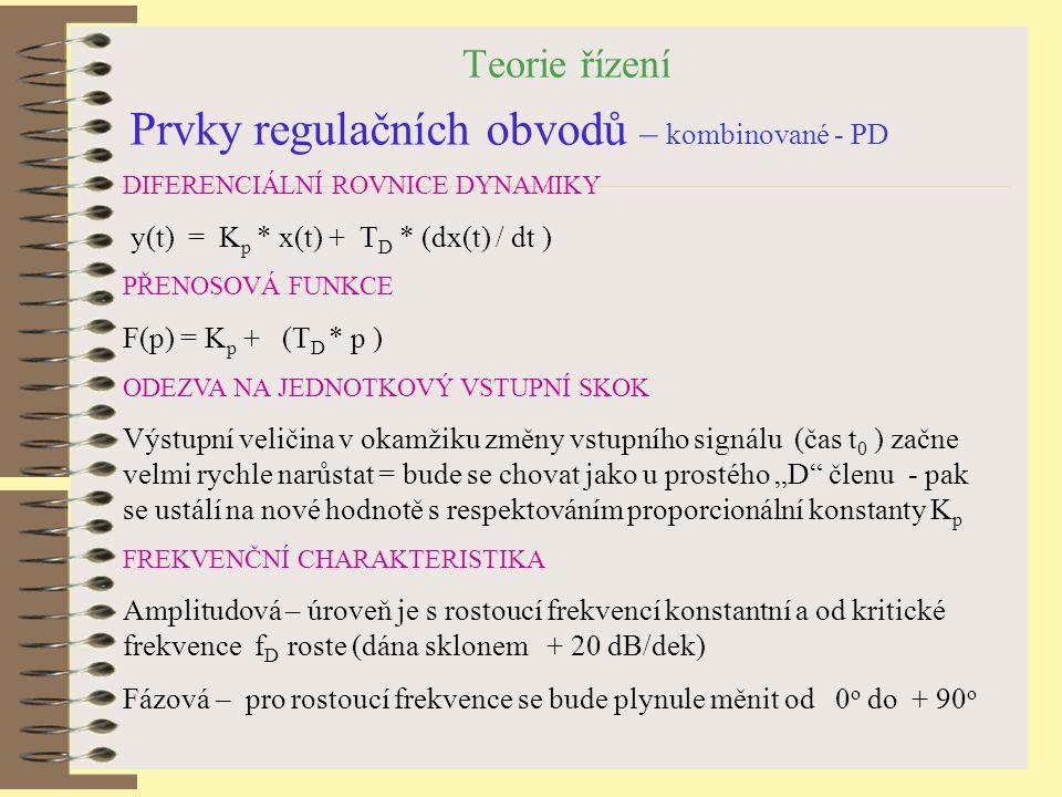 Teorie řízení Prvky regulačních obvodů – kombinované - PD DIFERENCIÁLNÍ ROVNICE DYNAMIKY y(t) = K p * x(t) + T D * (dx(t) / dt ) PŘENOSOVÁ FUNKCE F(p)