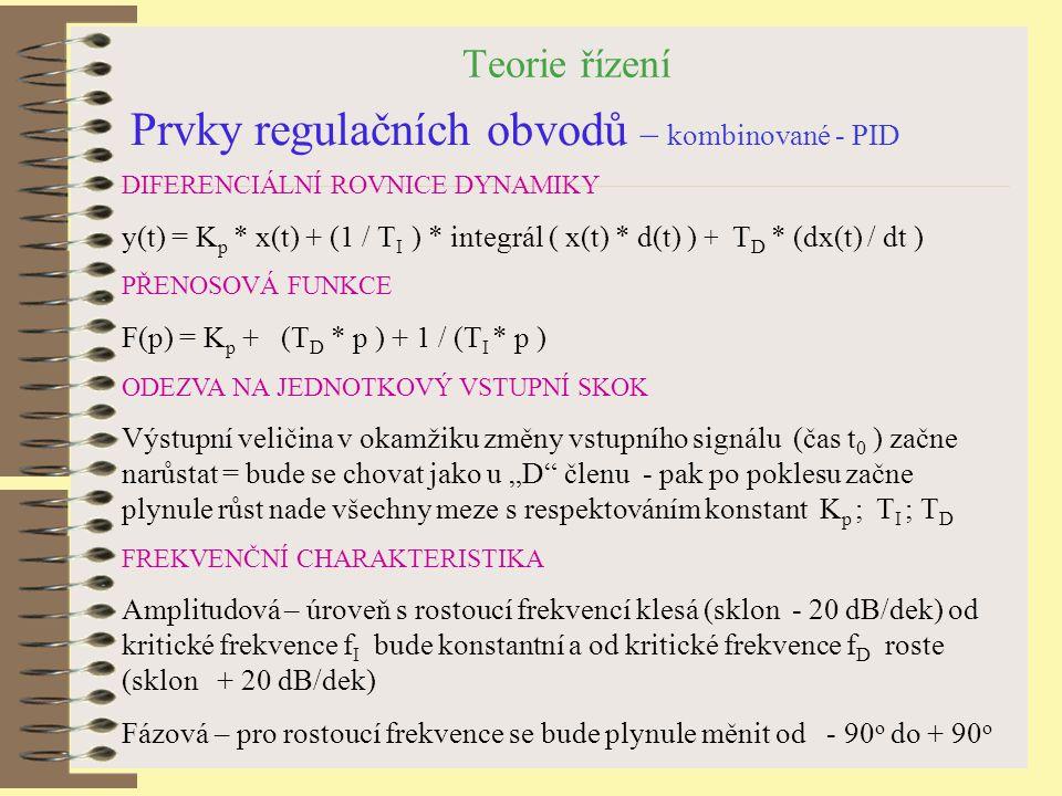 Teorie řízení Prvky regulačních obvodů – kombinované - PID DIFERENCIÁLNÍ ROVNICE DYNAMIKY y(t) = K p * x(t) + (1 / T I ) * integrál ( x(t) * d(t) ) +