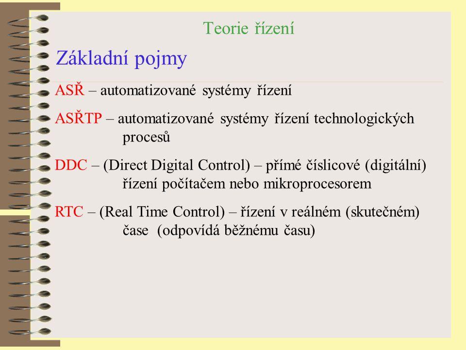 Teorie řízení Základní pojmy ASŘ – automatizované systémy řízení ASŘTP – automatizované systémy řízení technologických procesů DDC – (Direct Digital C