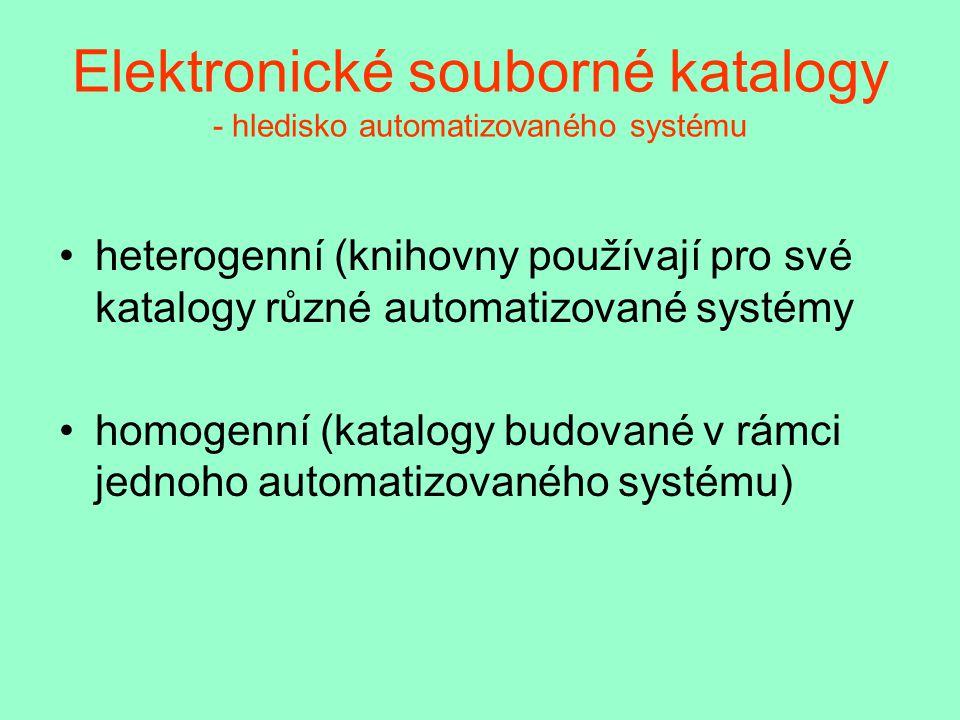 Elektronické souborné katalogy - hledisko automatizovaného systému heterogenní (knihovny používají pro své katalogy různé automatizované systémy homogenní (katalogy budované v rámci jednoho automatizovaného systému)
