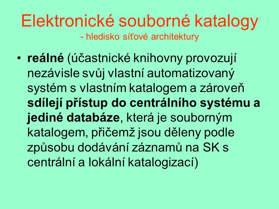 Elektronické souborné katalogy - hledisko síťové architektury reálné (účastnické knihovny provozují nezávisle svůj vlastní automatizovaný systém s vlastním katalogem a zároveň sdílejí přístup do centrálního systému a jediné databáze, která je souborným katalogem, přičemž jsou děleny podle způsobu dodávání záznamů na SK s centrální a lokální katalogizací)