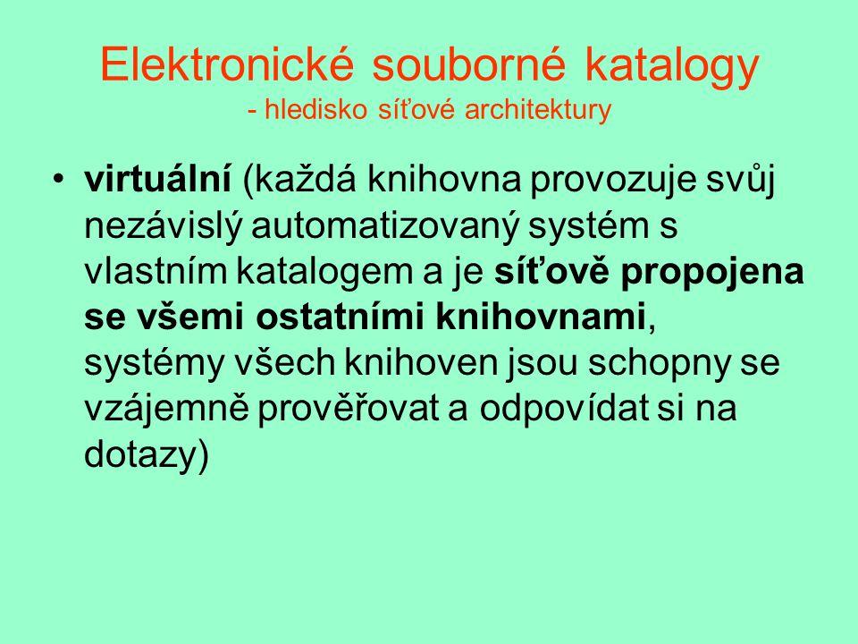 Elektronické souborné katalogy - hledisko síťové architektury virtuální (každá knihovna provozuje svůj nezávislý automatizovaný systém s vlastním katalogem a je síťově propojena se všemi ostatními knihovnami, systémy všech knihoven jsou schopny se vzájemně prověřovat a odpovídat si na dotazy)