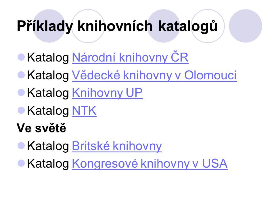 Příklady knihovních katalogů Katalog Národní knihovny ČRNárodní knihovny ČR Katalog Vědecké knihovny v OlomouciVědecké knihovny v Olomouci Katalog Kni