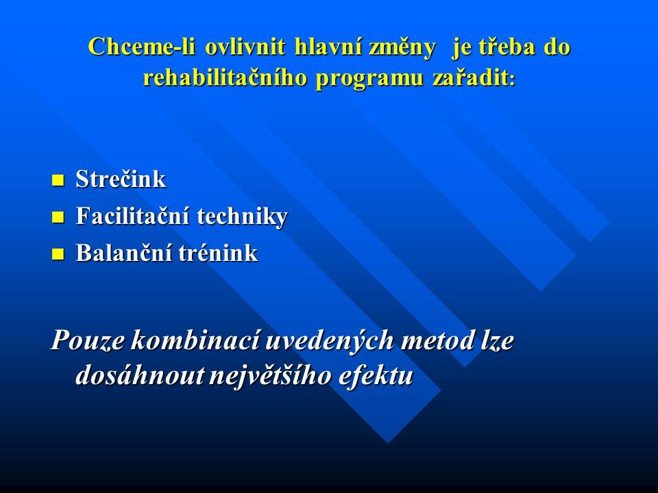 Chceme-li ovlivnit hlavní změny je třeba do rehabilitačního programu zařadit : Strečink Strečink Facilitační techniky Facilitační techniky Balanční trénink Balanční trénink Pouze kombinací uvedených metod lze dosáhnout největšího efektu