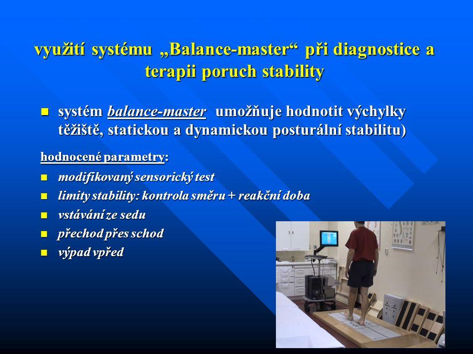 """využití systému """"Balance-master"""" při diagnostice a terapii poruch stability systém balance-master umožňuje hodnotit výchylky těžiště, statickou a dyna"""