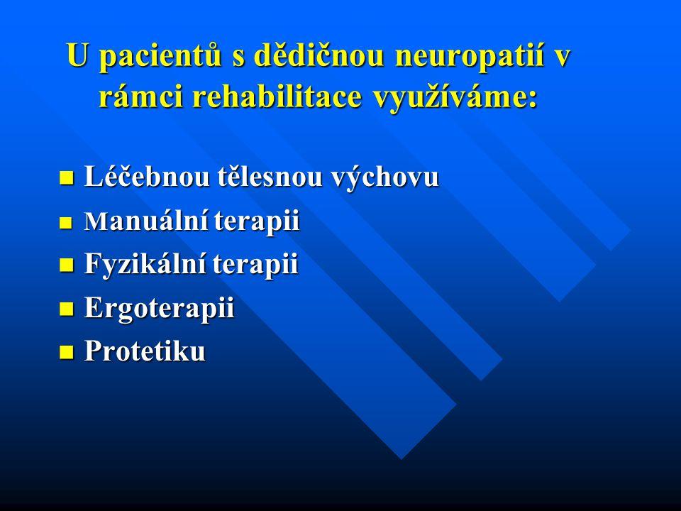 U pacientů s dědičnou neuropatií v rámci rehabilitace využíváme: Léčebnou tělesnou výchovu Léčebnou tělesnou výchovu M anuální terapii M anuální terapii Fyzikální terapii Fyzikální terapii Ergoterapii Ergoterapii Protetiku Protetiku