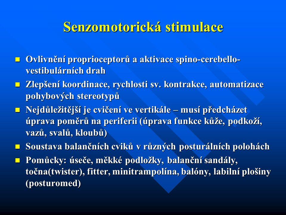 Senzomotorická stimulace Ovlivnění proprioceptorů a aktivace spino-cerebello- vestibulárních drah Ovlivnění proprioceptorů a aktivace spino-cerebello- vestibulárních drah Zlepšení koordinace, rychlosti sv.