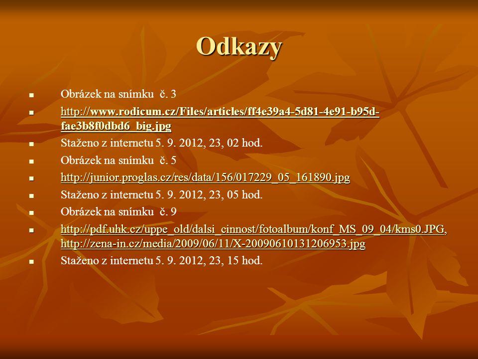 Odkazy Obrázek na snímku č. 3 http://www.rodicum.cz/Files/articles/ff4e39a4-5d81-4e91-b95d- fae3b8f0dbd6_big.jpg http://www.rodicum.cz/Files/articles/