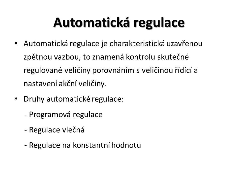 Automatická regulace Automatická regulace je charakteristická uzavřenou zpětnou vazbou, to znamená kontrolu skutečné regulované veličiny porovnáním s