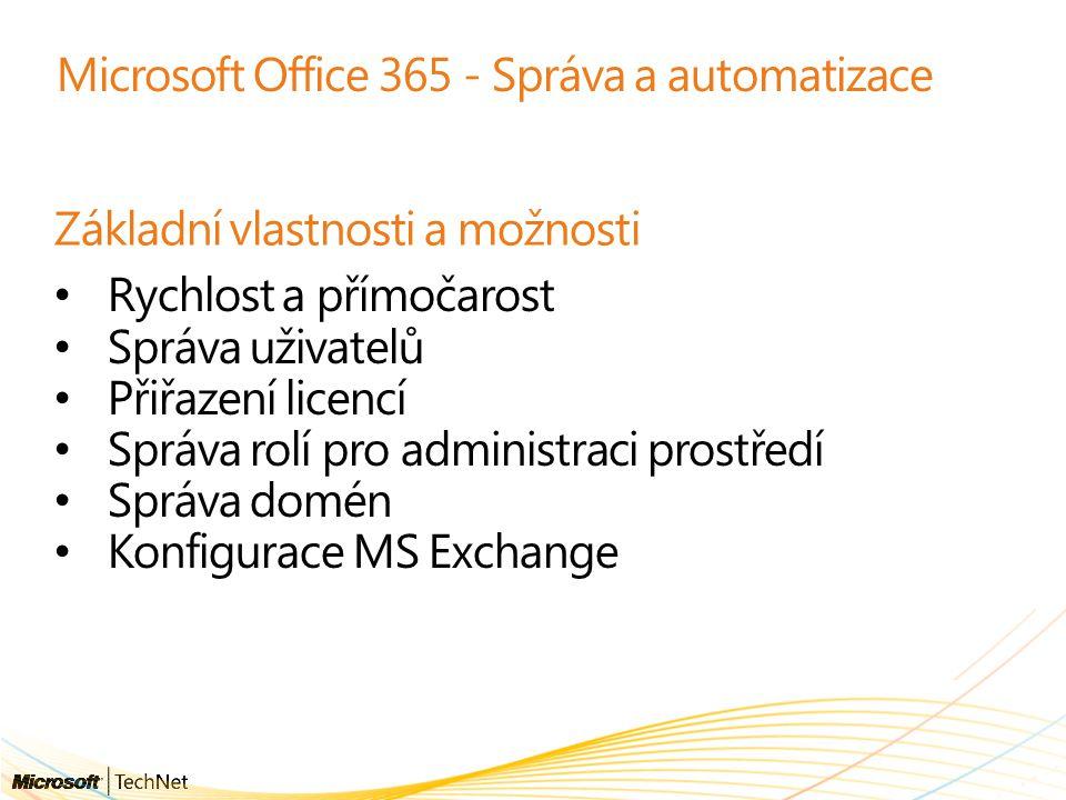 Microsoft Office 365 - Správa a automatizace Základní vlastnosti a možnosti Rychlost a přímočarost Správa uživatelů Přiřazení licencí Správa rolí pro administraci prostředí Správa domén Konfigurace MS Exchange