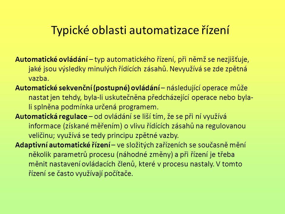 Typické oblasti automatizace řízení Automatické ovládání – typ automatického řízení, při němž se nezjišťuje, jaké jsou výsledky minulých řídících zása