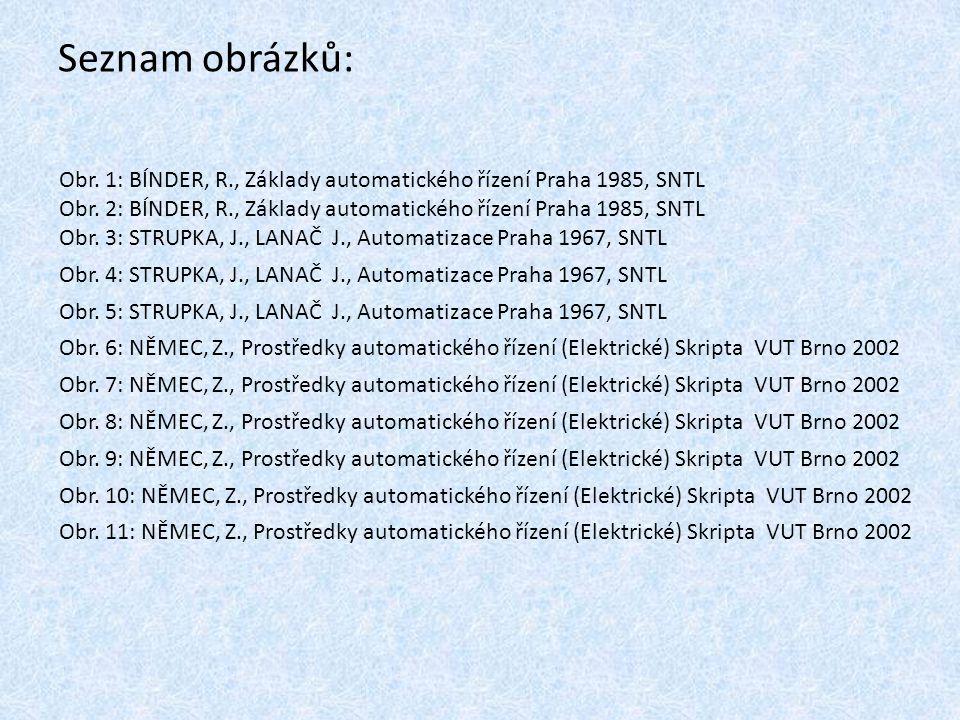 Seznam obrázků: Obr. 1: BÍNDER, R., Základy automatického řízení Praha 1985, SNTL Obr. 2: BÍNDER, R., Základy automatického řízení Praha 1985, SNTL Ob