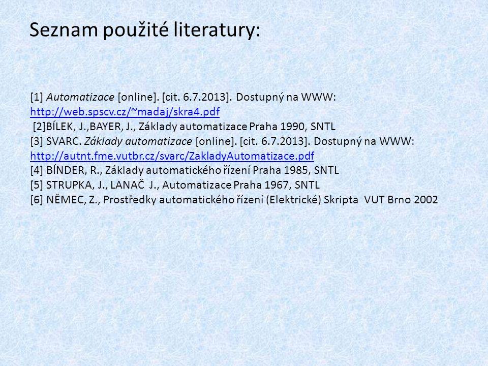 Seznam použité literatury: [1] Automatizace [online]. [cit. 6.7.2013]. Dostupný na WWW: http://web.spscv.cz/~madaj/skra4.pdf http://web.spscv.cz/~mada