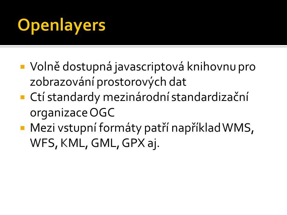  Volně dostupná javascriptová knihovnu pro zobrazování prostorových dat  Ctí standardy mezinárodní standardizační organizace OGC  Mezi vstupní formáty patří například WMS, WFS, KML, GML, GPX aj.