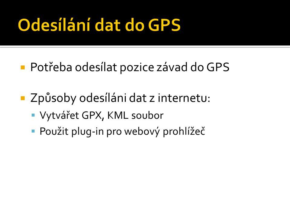  Potřeba odesílat pozice závad do GPS  Způsoby odesíláni dat z internetu:  Vytvářet GPX, KML soubor  Použit plug-in pro webový prohlížeč