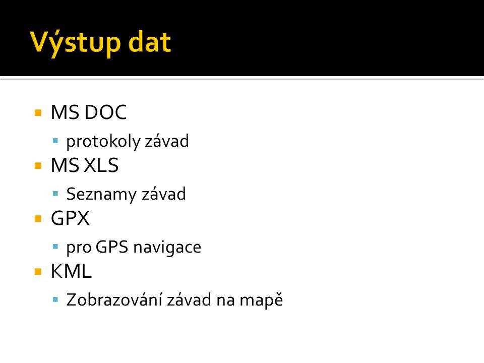  MS DOC  protokoly závad  MS XLS  Seznamy závad  GPX  pro GPS navigace  KML  Zobrazování závad na mapě