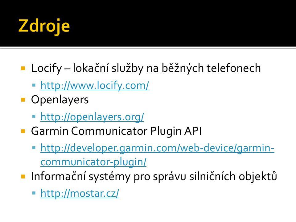  Locify – lokační služby na běžných telefonech  http://www.locify.com/ http://www.locify.com/  Openlayers  http://openlayers.org/ http://openlayers.org/  Garmin Communicator Plugin API  http://developer.garmin.com/web-device/garmin- communicator-plugin/ http://developer.garmin.com/web-device/garmin- communicator-plugin/  Informační systémy pro správu silničních objektů  http://mostar.cz/ http://mostar.cz/
