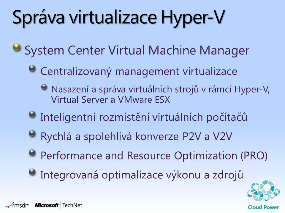 Správa virtualizace Hyper-V System Center Virtual Machine Manager Centralizovaný management virtualizace Nasazení a správa virtuálních strojů v rámci