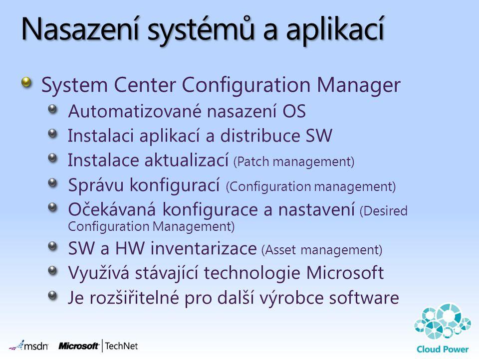Nasazení systémů a aplikací System Center Configuration Manager Automatizované nasazení OS Instalaci aplikací a distribuce SW Instalace aktualizací (P