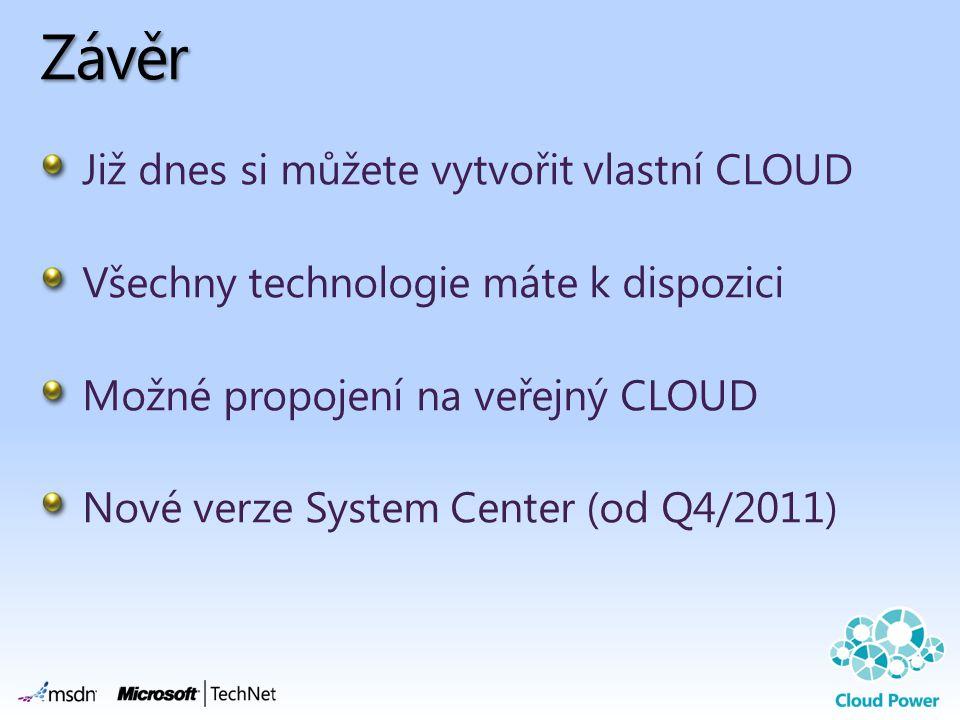 Závěr Již dnes si můžete vytvořit vlastní CLOUD Všechny technologie máte k dispozici Možné propojení na veřejný CLOUD Nové verze System Center (od Q4/
