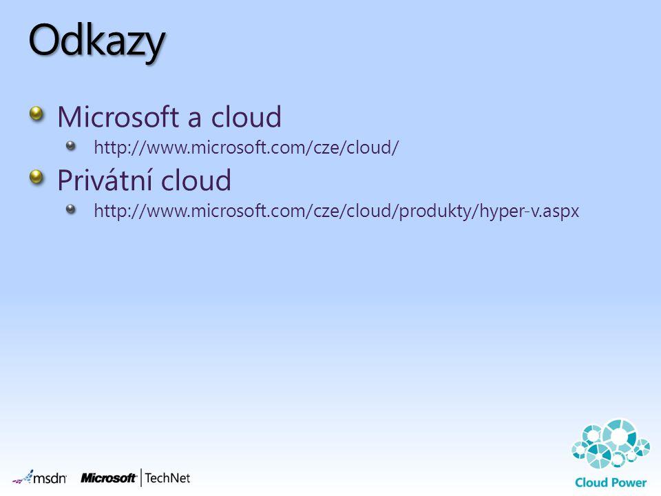 Odkazy Microsoft a cloud http://www.microsoft.com/cze/cloud/ Privátní cloud http://www.microsoft.com/cze/cloud/produkty/hyper-v.aspx