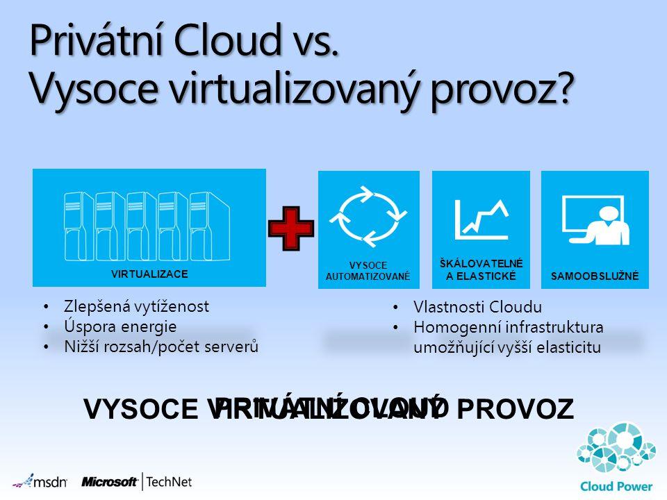 Privátní Cloud vs. Vysoce virtualizovaný provoz? VYSOCE VIRTUALIZOVANÝ PROVOZ PRIVÁTNÍ CLOUD Vlastnosti Cloudu Homogenní infrastruktura umožňující vyš