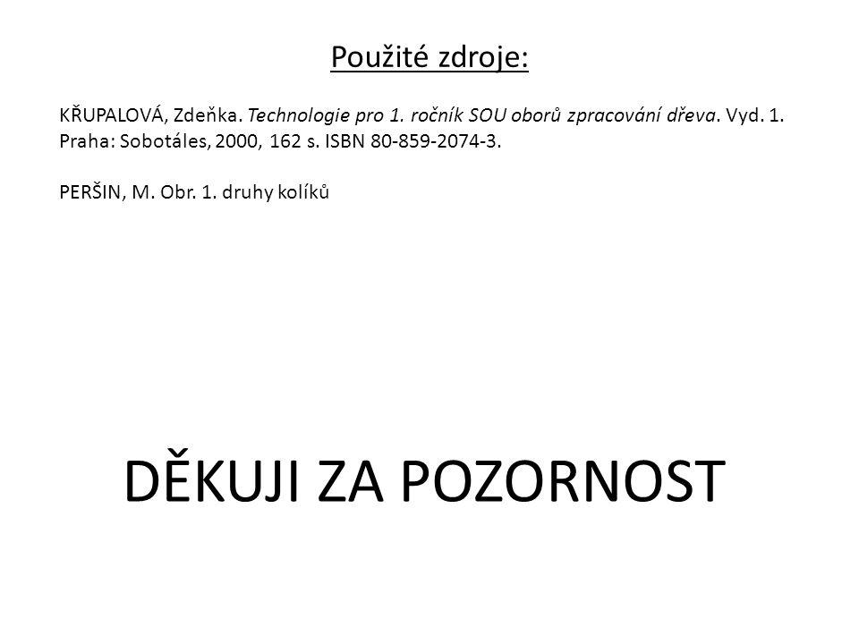Použité zdroje: KŘUPALOVÁ, Zdeňka. Technologie pro 1. ročník SOU oborů zpracování dřeva. Vyd. 1. Praha: Sobotáles, 2000, 162 s. ISBN 80-859-2074-3. PE