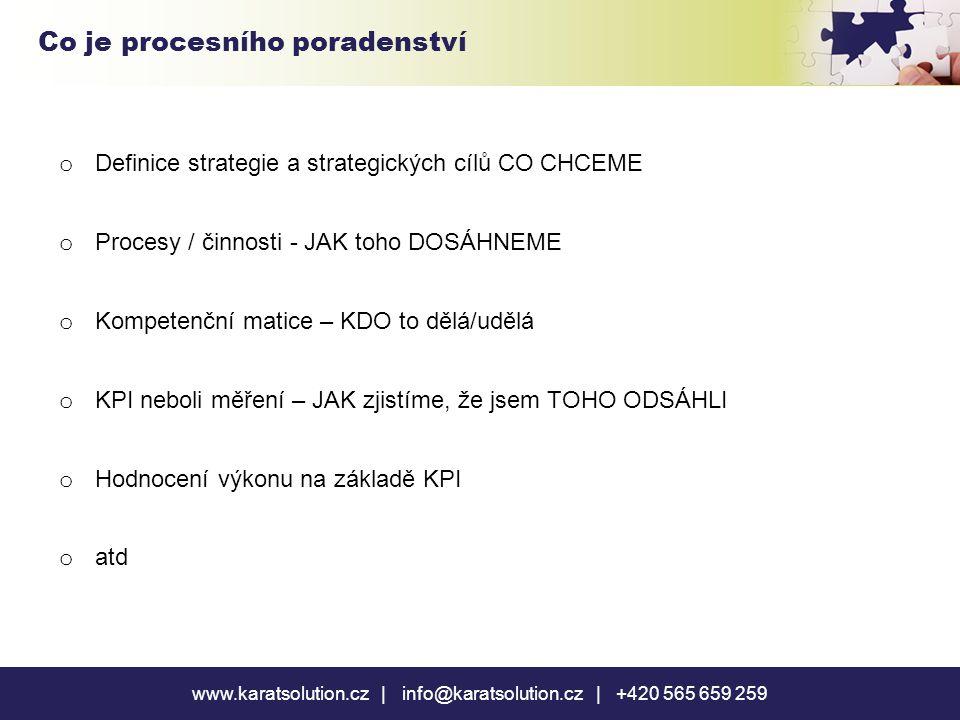o Definice strategie a strategických cílů CO CHCEME o Procesy / činnosti - JAK toho DOSÁHNEME o Kompetenční matice – KDO to dělá/udělá o KPI neboli měření – JAK zjistíme, že jsem TOHO ODSÁHLI o Hodnocení výkonu na základě KPI o atd www.karatsolution.cz | info@karatsolution.cz | +420 565 659 259 Co je procesního poradenství