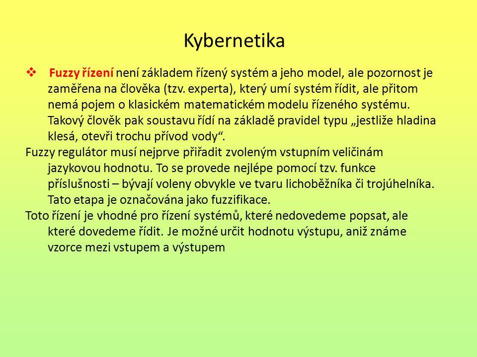 Kybernetika  Fuzzy řízení není základem řízený systém a jeho model, ale pozornost je zaměřena na člověka (tzv.