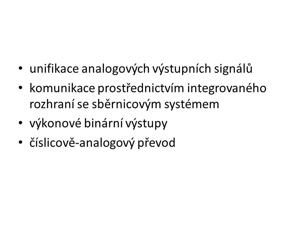 unifikace analogových výstupních signálů komunikace prostřednictvím integrovaného rozhraní se sběrnicovým systémem výkonové binární výstupy číslicově-
