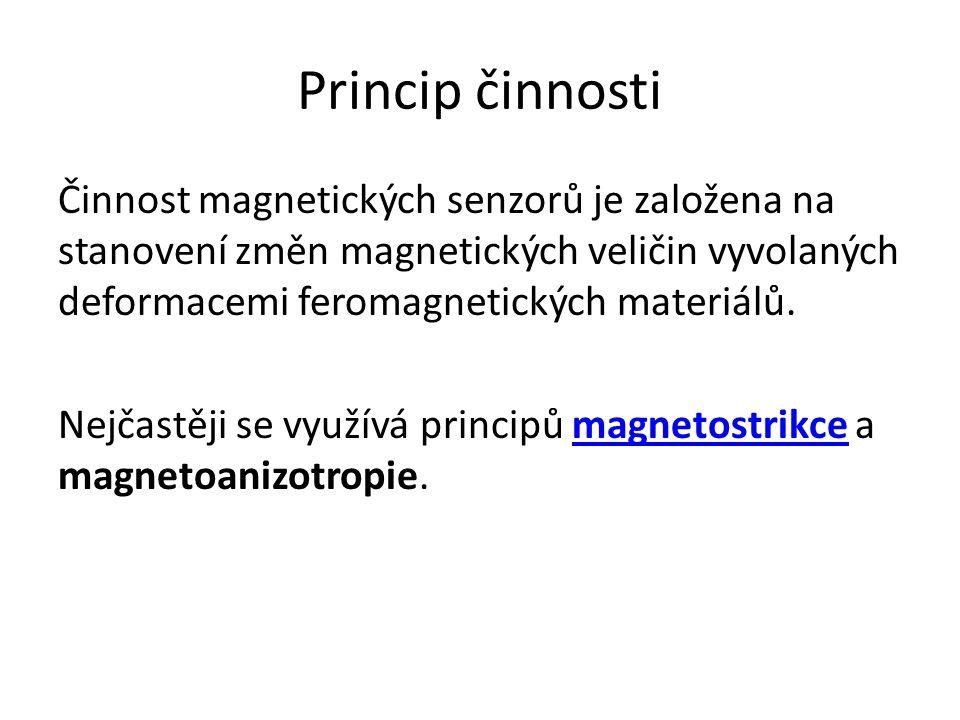 Princip činnosti Činnost magnetických senzorů je založena na stanovení změn magnetických veličin vyvolaných deformacemi feromagnetických materiálů. Ne