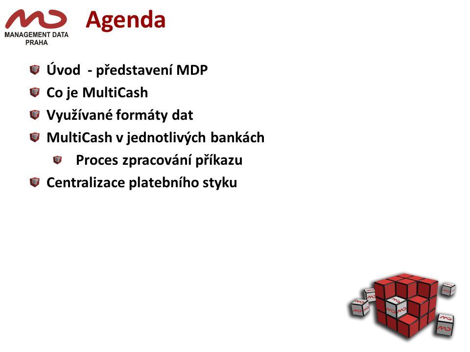 Agenda Úvod - představení MDP Co je MultiCash Využívané formáty dat MultiCash v jednotlivých bankách Proces zpracování příkazu Centralizace platebního styku