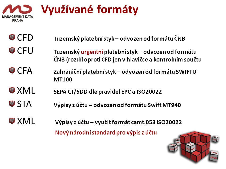 Využívané formáty CFD Tuzemský platební styk – odvozen od formátu ČNB CFU Tuzemský urgentní platební styk – odvozen od formátu ČNB (rozdíl oproti CFD jen v hlavičce a kontrolním součtu CFA Zahraniční platební styk – odvozen od formátu SWIFTU MT100 XML SEPA CT/SDD dle pravidel EPC a ISO20022 STA Výpisy z účtu – odvozen od formátu Swift MT940 XML Výpisy z účtu – využit formát camt.053 ISO20022 Nový národní standard pro výpis z účtu