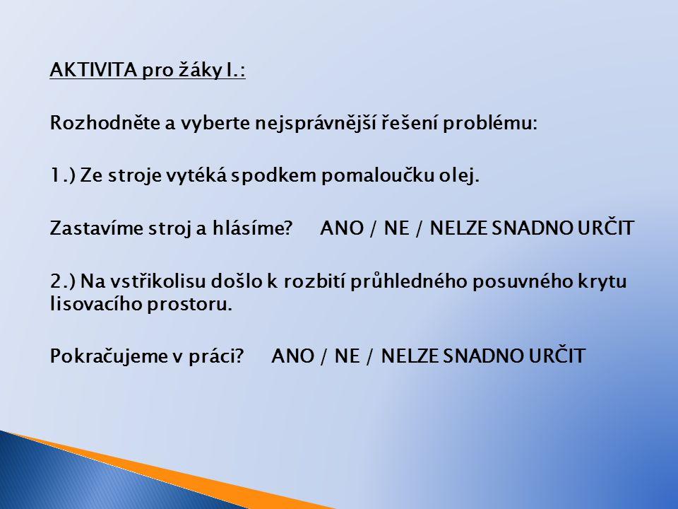 AKTIVITA pro žáky II.: Rozhodněte a vyberte nejsprávnější řešení problému: 3.) Ze stropu pomalu kape voda do násypky s granulátem.