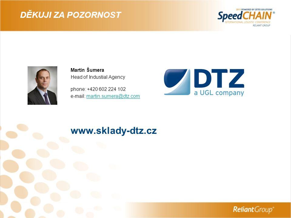 DĚKUJI ZA POZORNOST Martin Šumera Head of Industial Agency phone: +420 602 224 102 e-mail: martin.sumera@dtz.commartin.sumera@dtz.com www.sklady-dtz.c