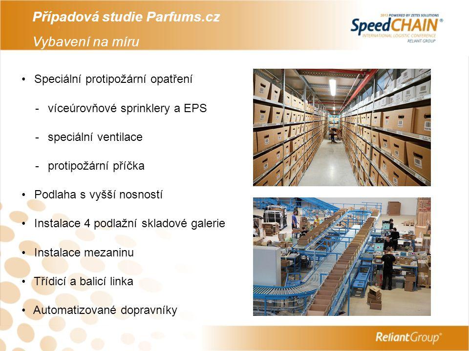 Případová studie Parfums.cz Vybavení na míru Speciální protipožární opatření - víceúrovňové sprinklery a EPS - speciální ventilace - protipožární příč