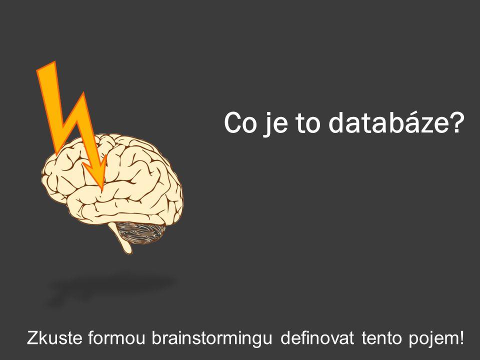 Co je to databáze? Zkuste formou brainstormingu definovat tento pojem!