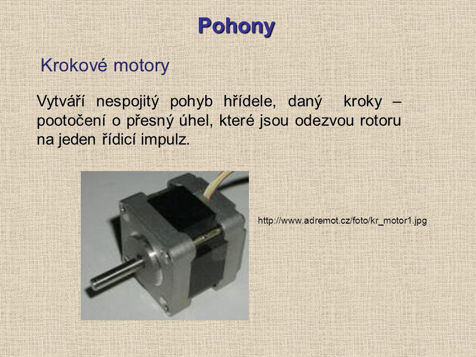 Pohony Krokové motory Vytváří nespojitý pohyb hřídele, daný kroky – pootočení o přesný úhel, které jsou odezvou rotoru na jeden řídicí impulz. http://