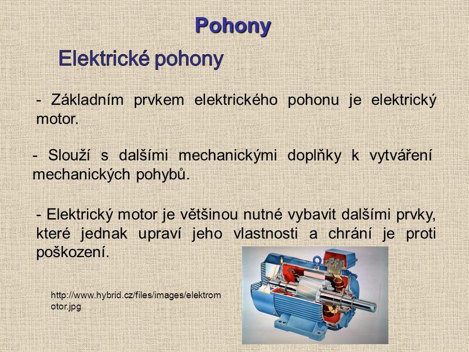 Pohony - Slouží s dalšími mechanickými doplňky k vytváření mechanických pohybů. - Základním prvkem elektrického pohonu je elektrický motor. - Elektric